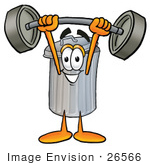 #26566 Clip Art Graphic Of A Metal Trash Can Cartoon Character Holding A Heavy Barbell Above His Head