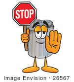 #26567 Clip Art Graphic Of A Metal Trash Can Cartoon Character Holding A Stop Sign