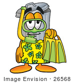#26568 Clip Art Graphic Of A Metal Trash Can Cartoon Character In Green And Yellow Snorkel Gear