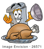 #26571 Clip Art Graphic of a Metal Trash Can Cartoon Character Serving a Thanksgiving Turkey on a Platter by toons4biz