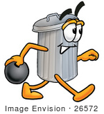 #26572 Clip Art Graphic Of A Metal Trash Can Cartoon Character Holding A Bowling Ball