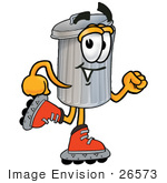 #26573 Clip Art Graphic Of A Metal Trash Can Cartoon Character Roller Blading On Inline Skates