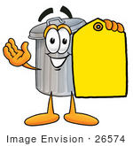 #26574 Clip Art Graphic Of A Metal Trash Can Cartoon Character Holding A Yellow Sales Price Tag