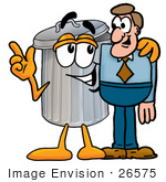 #26575 Clip Art Graphic of a Metal Trash Can Cartoon Character Talking to a Business Man by toons4biz