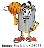 #26576 Clip Art Graphic Of A Metal Trash Can Cartoon Character Spinning A Basketball On His Finger