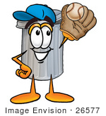 #26577 Clip Art Graphic Of A Metal Trash Can Cartoon Character Catching A Baseball With A Glove