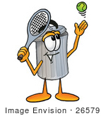 #26579 Clip Art Graphic Of A Metal Trash Can Cartoon Character Preparing To Hit A Tennis Ball