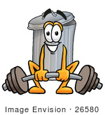 #26580 Clip Art Graphic Of A Metal Trash Can Cartoon Character Lifting A Heavy Barbell