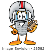#26582 Clip Art Graphic Of A Gray Cell Phone Cartoon Character In A Helmet Holding A Football