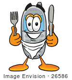 #26586 Clip Art Graphic Of A Gray Cell Phone Cartoon Character Holding A Knife And Fork