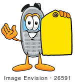 #26591 Clip Art Graphic Of A Gray Cell Phone Cartoon Character Holding A Yellow Sales Price Tag