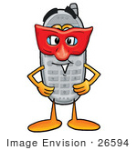 #26594 Clip Art Graphic Of A Gray Cell Phone Cartoon Character Wearing A Red Mask Over His Face