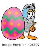 #26597 Clip Art Graphic Of A Gray Cell Phone Cartoon Character Standing Beside An Easter Egg
