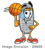 #26600 Clip Art Graphic Of A Gray Cell Phone Cartoon Character Spinning A Basketball On His Finger