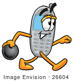 #26604 Clip Art Graphic Of A Gray Cell Phone Cartoon Character Holding A Bowling Ball