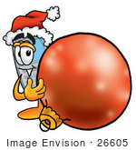 #26605 Clip Art Graphic Of A Gray Cell Phone Cartoon Character Wearing A Santa Hat Standing With A Christmas Bauble