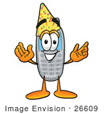 #26609 Clip Art Graphic Of A Gray Cell Phone Cartoon Character Wearing A Birthday Party Hat