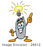 #26612 Clip Art Graphic Of A Gray Cell Phone Cartoon Character With A Bright Idea