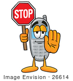 #26614 Clip Art Graphic Of A Gray Cell Phone Cartoon Character Holding A Stop Sign