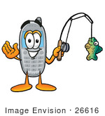 #26616 Clip Art Graphic Of A Gray Cell Phone Cartoon Character Holding A Fish On A Fishing Pole
