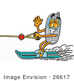 #26617 Clip Art Graphic Of A Gray Cell Phone Cartoon Character Waving While Water Skiing
