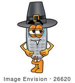 #26620 Clip Art Graphic Of A Gray Cell Phone Cartoon Character Wearing A Pilgrim Hat On Thanksgiving