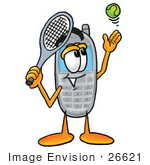 #26621 Clip Art Graphic Of A Gray Cell Phone Cartoon Character Preparing To Hit A Tennis Ball