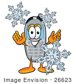 #26623 Clip Art Graphic Of A Gray Cell Phone Cartoon Character With Three Snowflakes In Winter