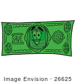 #26625 Clip Art Graphic Of A Gray Cell Phone Cartoon Character On A Dollar Bill