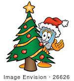 #26626 Clip Art Graphic Of A Gray Cell Phone Cartoon Character Waving And Standing By A Decorated Christmas Tree