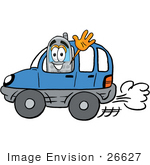 #26627 Clip Art Graphic Of A Gray Cell Phone Cartoon Character Driving A Blue Car And Waving