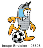 #26628 Clip Art Graphic Of A Gray Cell Phone Cartoon Character Kicking A Soccer Ball