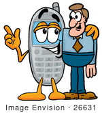 #26631 Clip Art Graphic Of A Gray Cell Phone Cartoon Character Talking To A Business Man