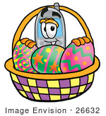 #26632 Clip Art Graphic Of A Gray Cell Phone Cartoon Character In An Easter Basket Full Of Decorated Easter Eggs