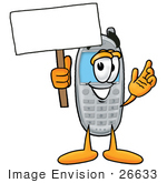#26633 Clip Art Graphic Of A Gray Cell Phone Cartoon Character Holding A Blank Sign