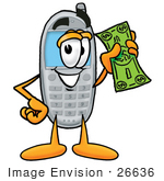 #26636 Clip Art Graphic Of A Gray Cell Phone Cartoon Character Holding A Dollar Bill