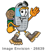 #26639 Clip Art Graphic Of A Gray Cell Phone Cartoon Character Hiking And Carrying A Backpack
