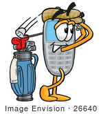 #26640 Clip Art Graphic Of A Gray Cell Phone Cartoon Character Swinging His Golf Club While Golfing
