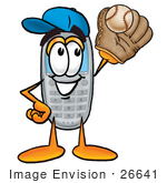 #26641 Clip Art Graphic Of A Gray Cell Phone Cartoon Character Catching A Baseball With A Glove