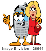#26644 Clip Art Graphic Of A Gray Cell Phone Cartoon Character Talking To A Pretty Blond Woman