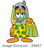 #26657 Clip Art Graphic Of A Gray Cell Phone Cartoon Character In Green And Yellow Snorkel Gear