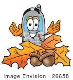 #26658 Clip Art Graphic Of A Gray Cell Phone Cartoon Character With Autumn Leaves And Acorns In The Fall