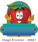 #26661 Clip Art Graphic Of A Red Apple Cartoon Character Label