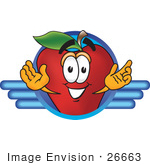 #26663 Clip Art Graphic Of A Red Apple Cartoon Character Logo