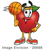#26666 Clip Art Graphic Of A Red Apple Cartoon Character Spinning A Basketball On His Finger