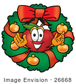 #26668 Clip Art Graphic Of A Red Apple Cartoon Character In The Center Of A Christmas Wreath