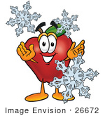 #26672 Clip art Graphic of a Red Apple Cartoon Character With Three Snowflakes in Winter by toons4biz