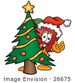 #26675 Clip Art Graphic Of A Red Apple Cartoon Character Waving And Standing By A Decorated Christmas Tree