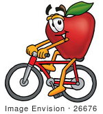 #26676 Clip Art Graphic Of A Red Apple Cartoon Character Riding A Bicycle