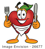 #26677 Clip Art Graphic Of A Red Apple Cartoon Character Holding A Knife And Fork